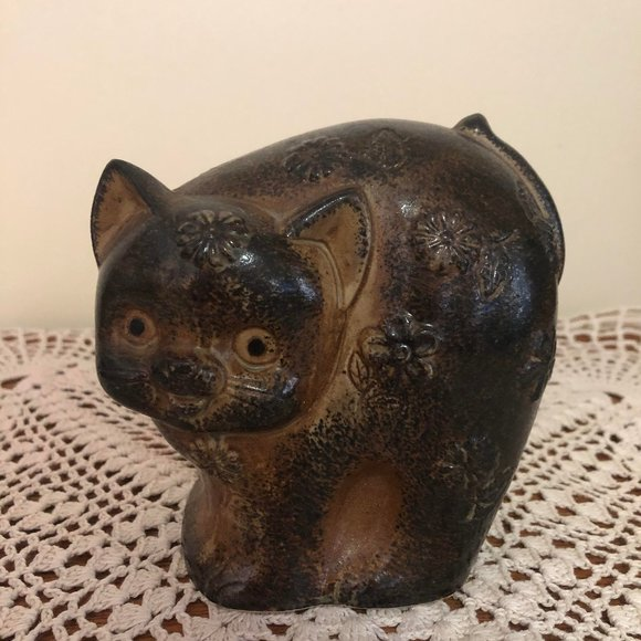 Cute Vintage Pottery Brown Cat Coin Bank